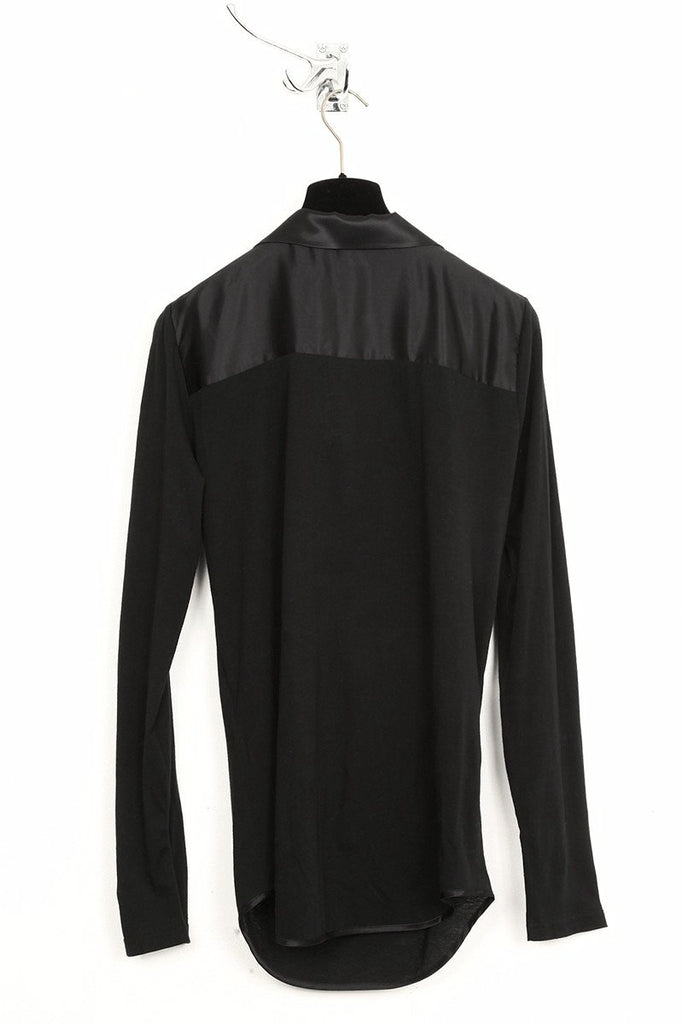UNCONDITIONAL SS19 black long sleeved jersey shirt with satin collar.