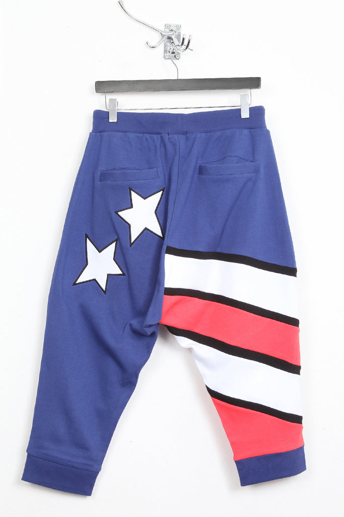UNCONDITIONAL Americana drop crotch jersey shorts.