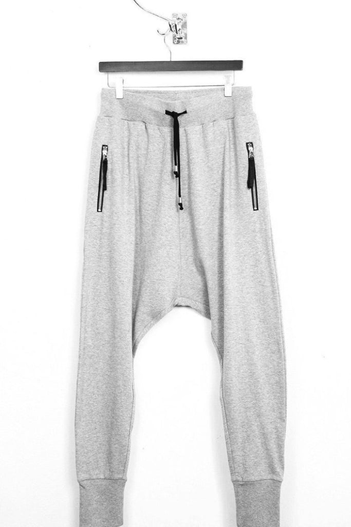 UNCONDITIONAL SS18 Grey Flannel Tailored jersey drop crotch trousers.