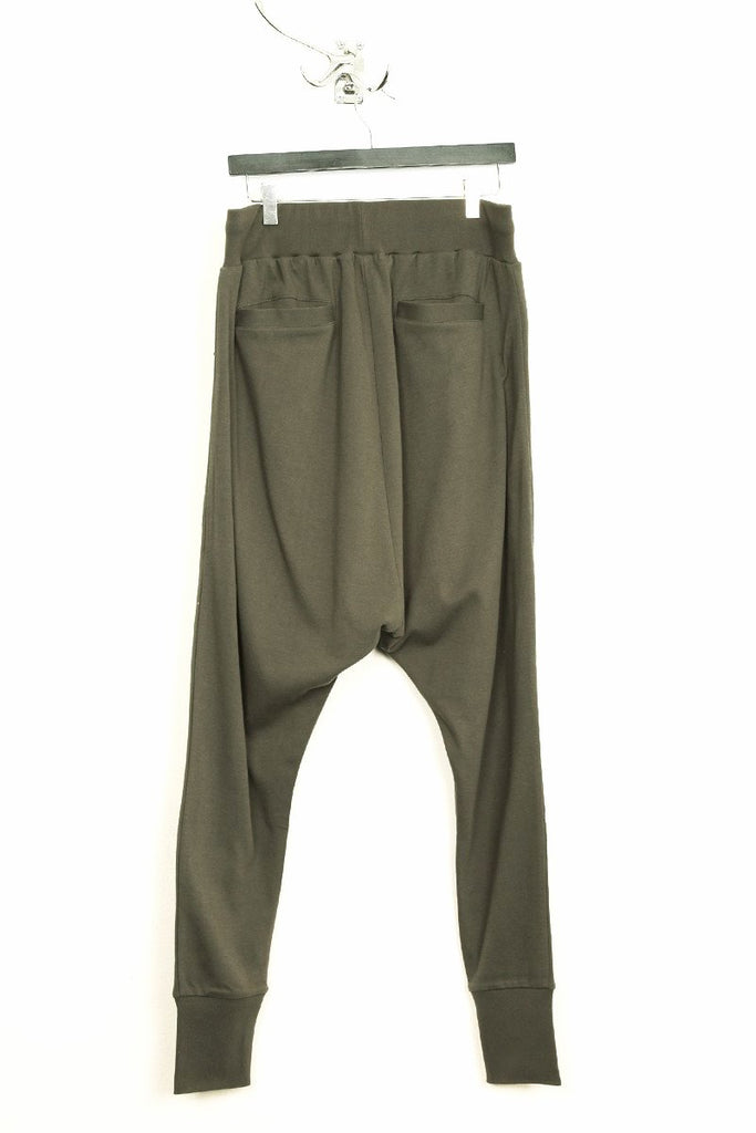 UNCONDITIONAL military grey zip pocket drop crotch jersey trouser.
