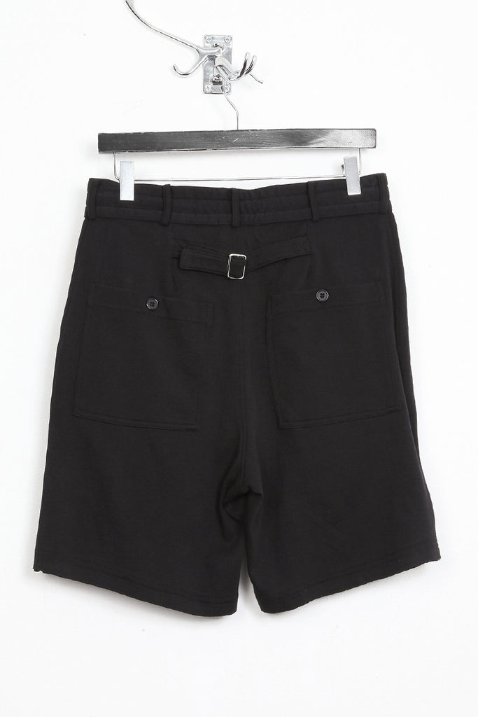 UNCONDITIONAL black heavy jersey shorts with zip up pockets.