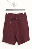 UNCONDITIONAL burgundy heavy jersey shorts with zip up pockets.
