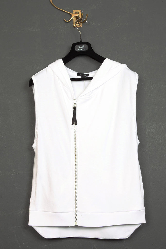 UNCONDITIONAL white jersey sleeveless zip up ghost hoodie.