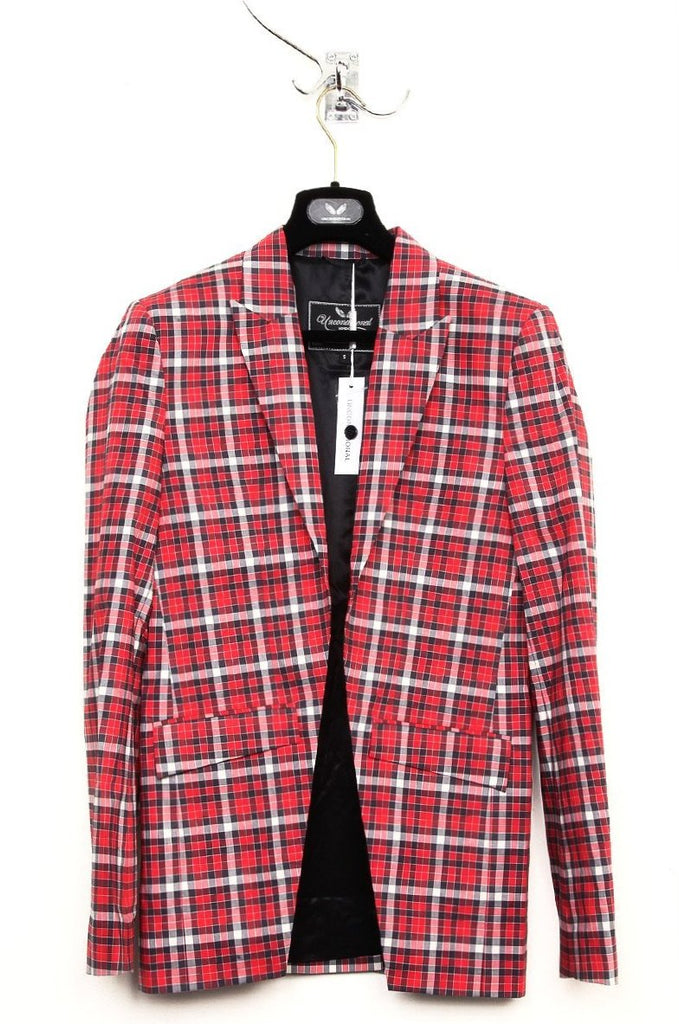 UNCONDITIONAL red-grey-black check cutaway jacket.