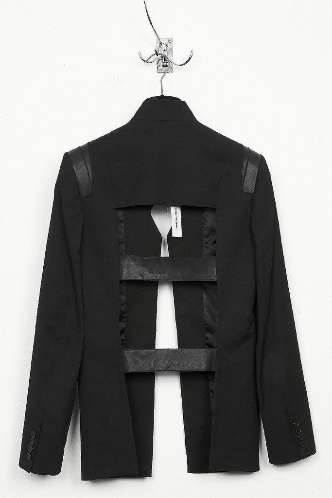 UNCONDITIONAL Black wool with black leather cage back jacket.