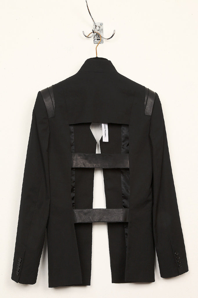 UNCONDITIONAL Black CANVAS cage back jacket with black leather contrasts
