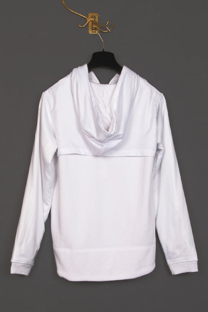 UNCONDITIONAL White sweat zip up hoodie with white microfibre layer.
