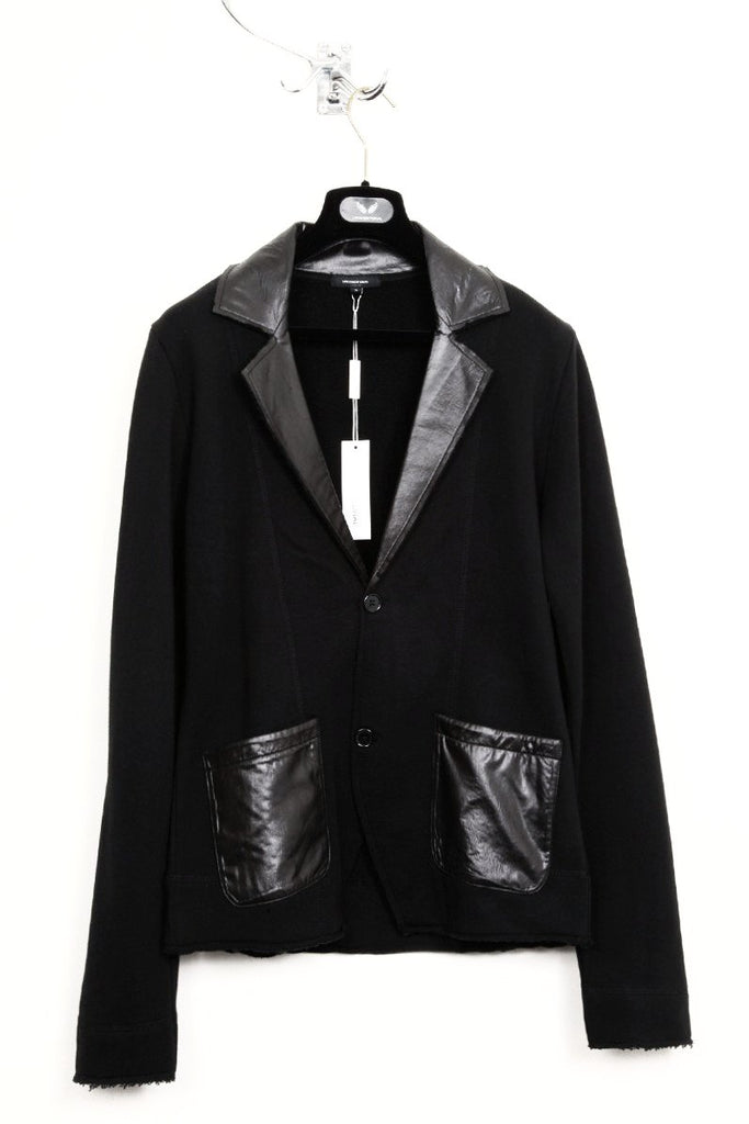 UNCONDITIONAL Black sweatshirting jacket with microfibre contrast detailing