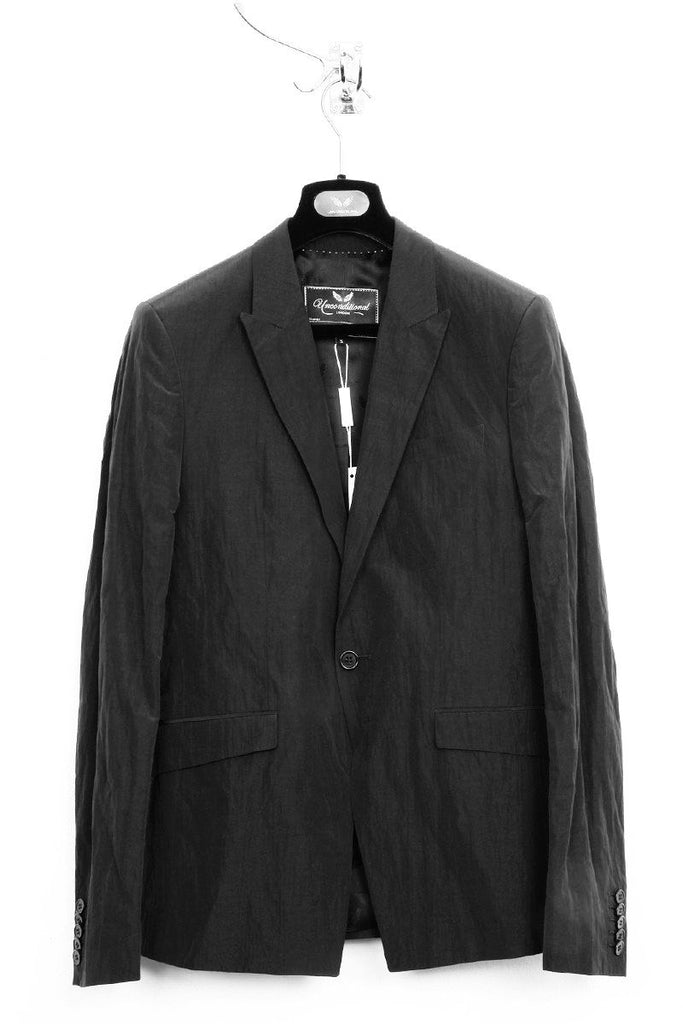 UNCONDITIONAL dark navy with black lining light cotton mix crinkle tailored 1 button jacket.