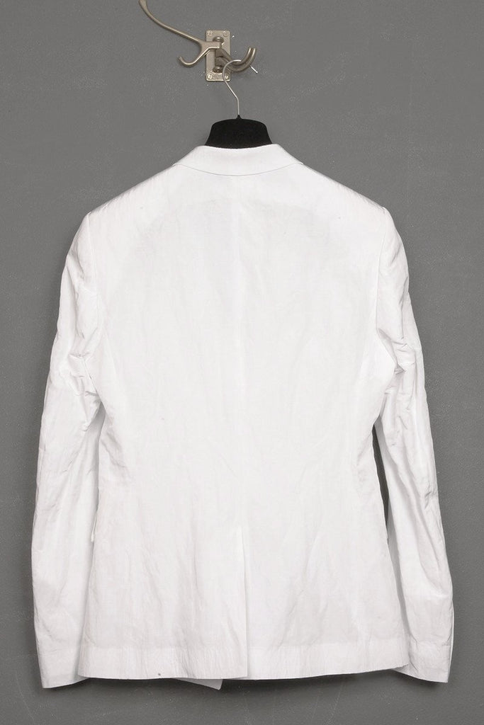 UNCONDITIONAL white light cotton mix crinkle tailored 1 button jacket.