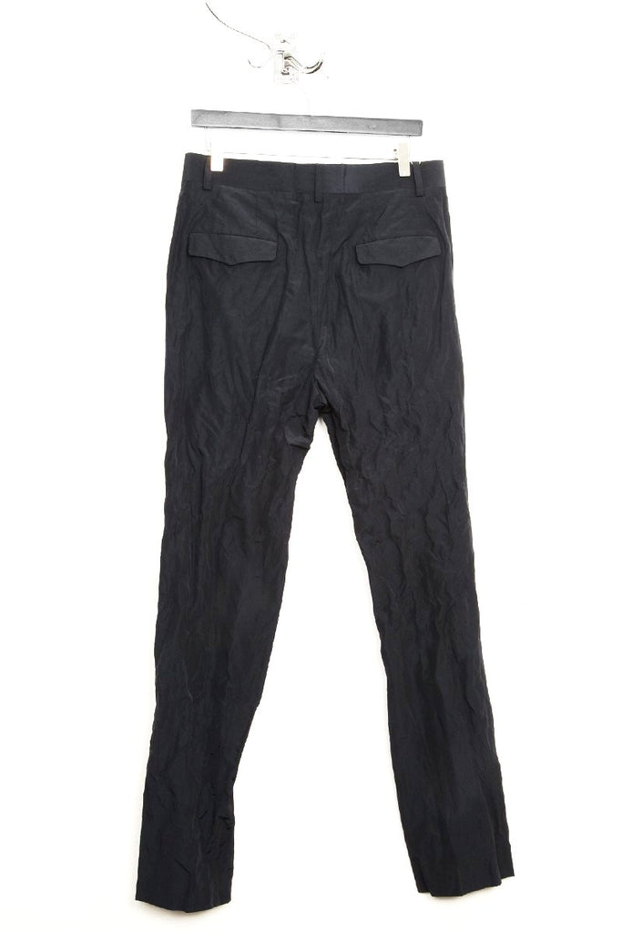 UNCONDITIONAL dark navy crinkle light cotton mix,  tailored classic cigarette trousers.