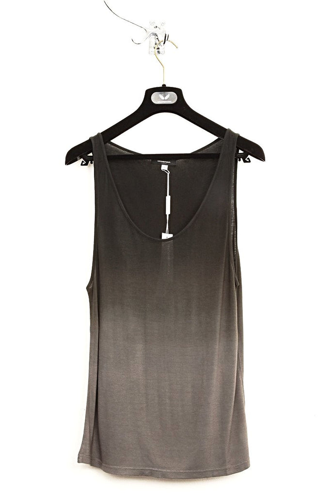 UNCONDITIONAL military grey and black dip dye rayon vest.