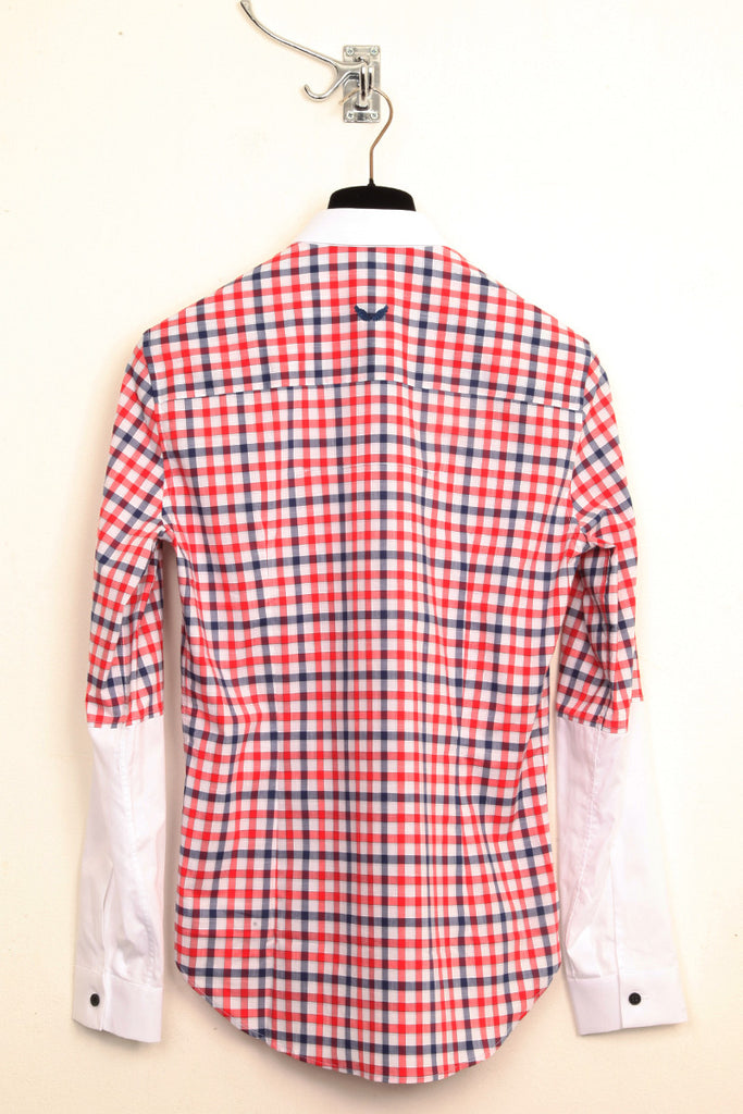 UNCONDITIONAL red, blue and white check shirt with contrast white small collar and 1/2 arm.