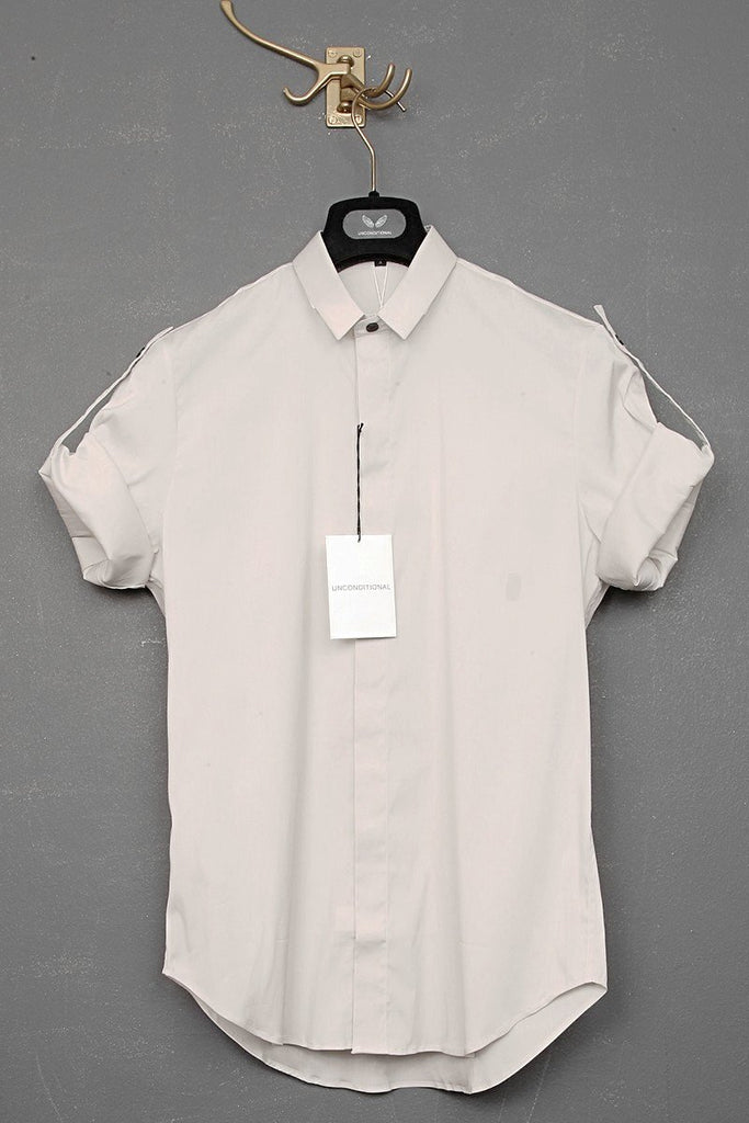 UNCONDITIONAL stone short sleeved shirt with hand pleated back yoke.