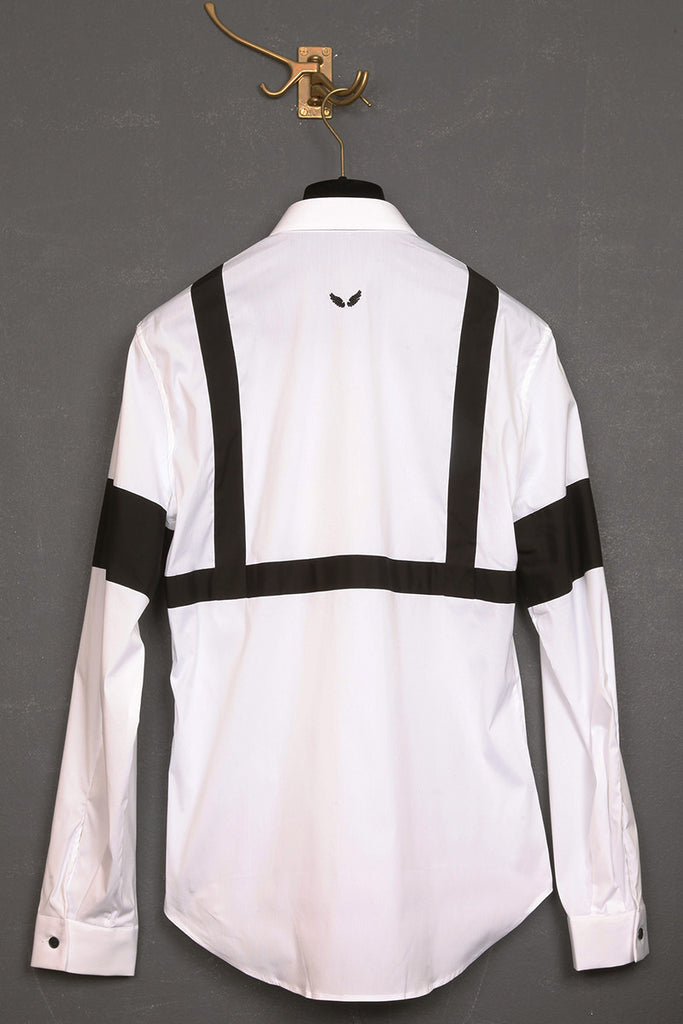 UNCONDITIONAL white and black cage harness and armband applied shirt.