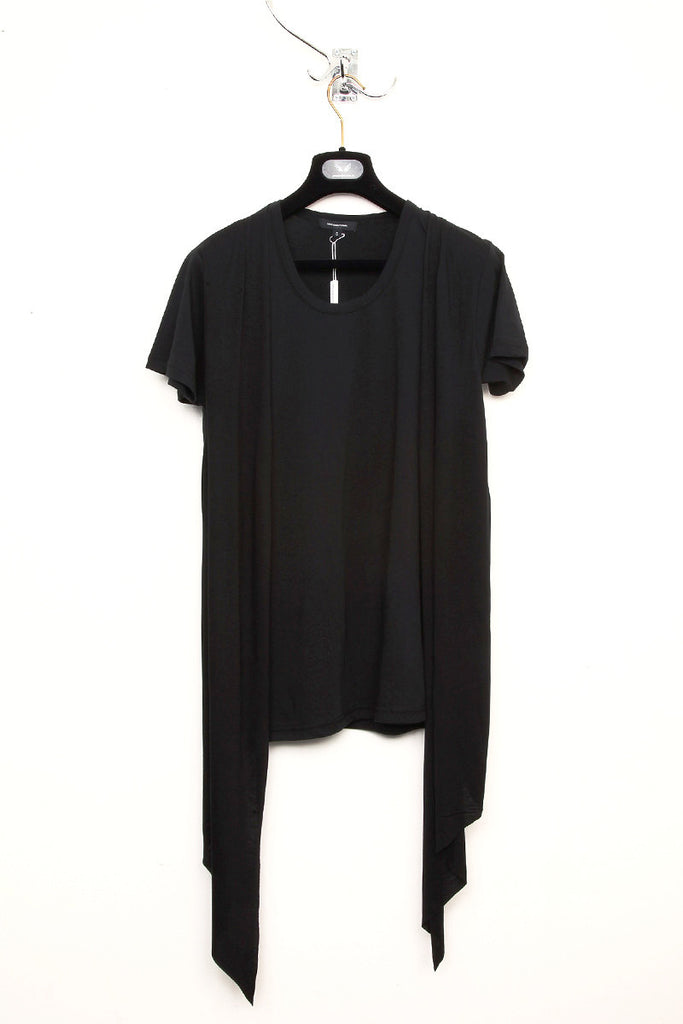 UNCONDITIONAL SS19 All Black V-neck tee with an inserted draped waist coat.