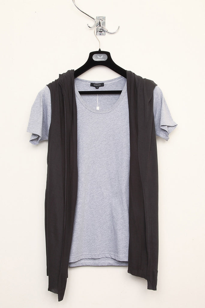 UNCONDITIONAL flannel and dark grey hooded cape waistcoat t-shirt.