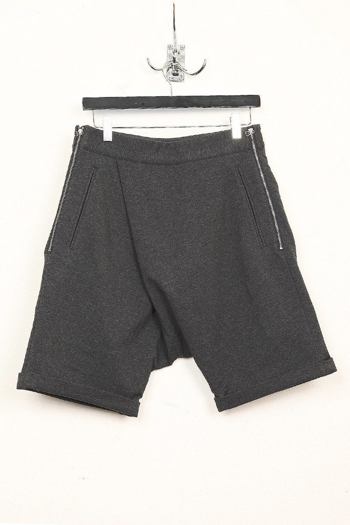 UNCONDITIONAL dark grey double zip drop crotch shorts with side zip.