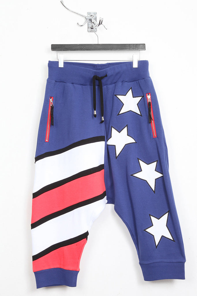 UNCONDITIONAL ladies Americana drop crotch jersey 3/4 harem trousers shorts.