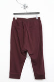 UNCONDITIONAL ladies burgundy drop crotch 3/4 length harem trousers with rib waistband.