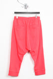 UNCONDITIONAL ladies coral drop crotch 3/4 harem trousers with ribbed waistband.