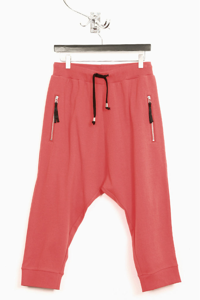 UNCONDITIONAL coral drop crotch 3/4 joggers with ribbed waistband and cuff.