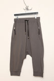 UNCONDITIONAL ladies military grey drop crotch 3/4 length harem trousers with rib waistband.