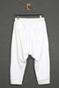 UNCONDITIONAL ladies white drop crotch 3/4 length harem trousers with rib waistband.
