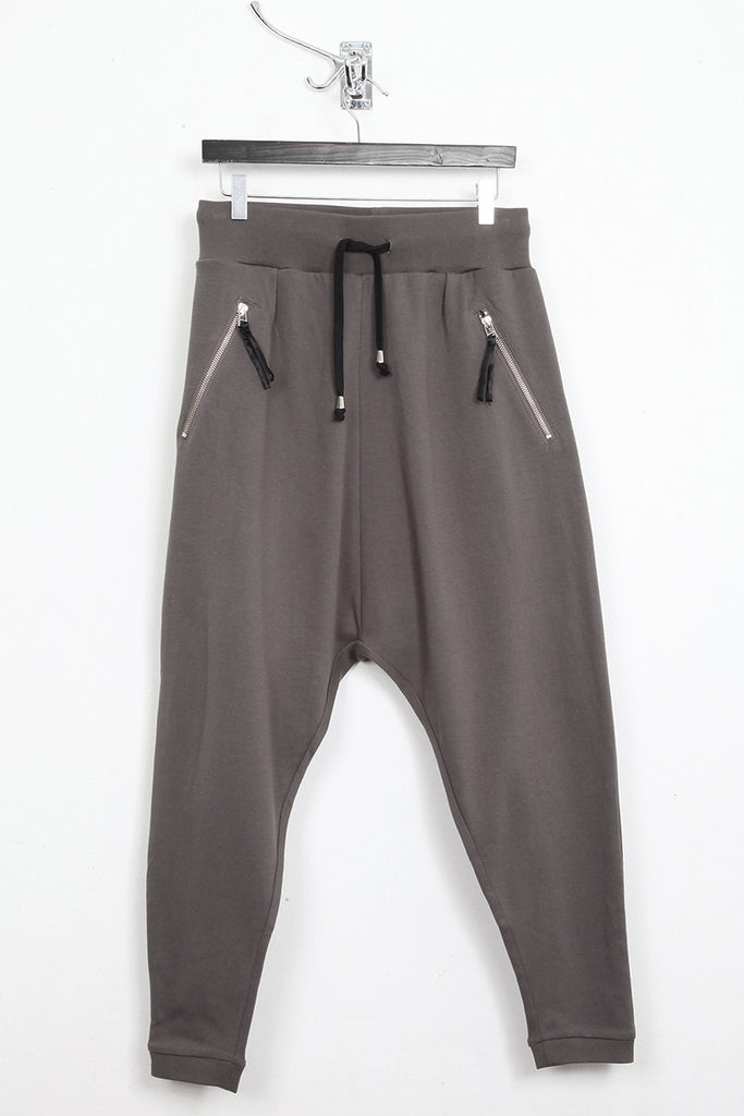UNCONDITIONAL military grey drop crotch full length jersey trousers.