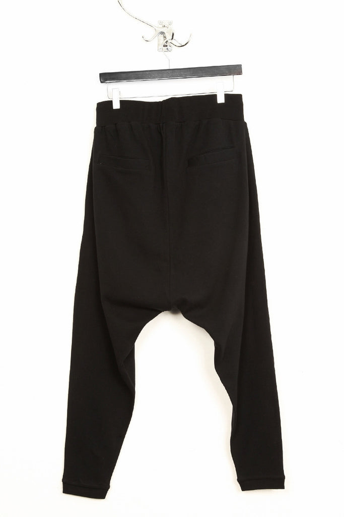 UNCONDITIONAL ladies black drop crotch jersey harem sarouel trousers - double zip pockets. Code : WHC2B
