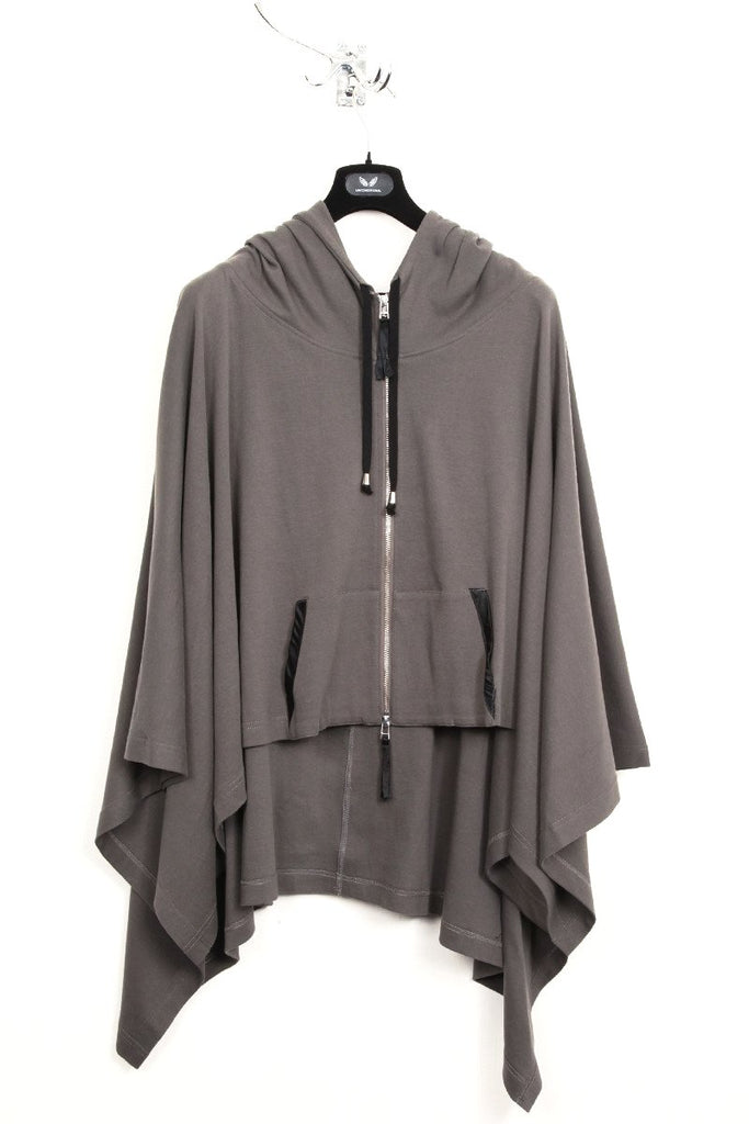 UNCONDITIONAL SS16 military grey hooded festival poncho.