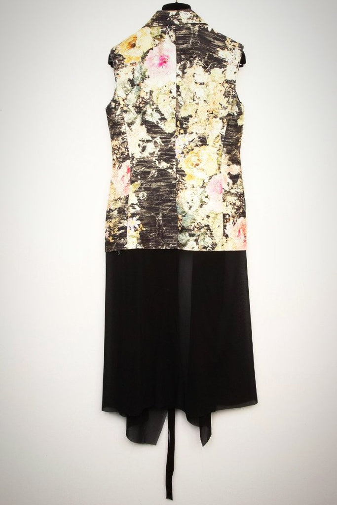 UNCONDITIONAL black and gold rose sleeveless jacket with black inner chiffon dress.