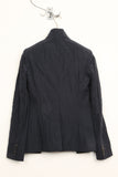 UNCONDITIONAL dark navy cotton mix crinkle tailoring cutaway jacket.