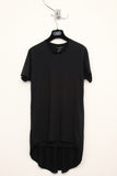 UNCONDITIONAL black and black double tail tee with pleated back.