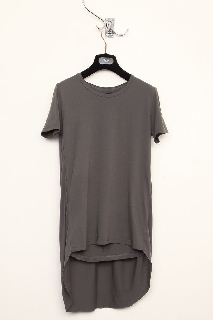 UNCONDITIONAL military double tail tee with pleated back.
