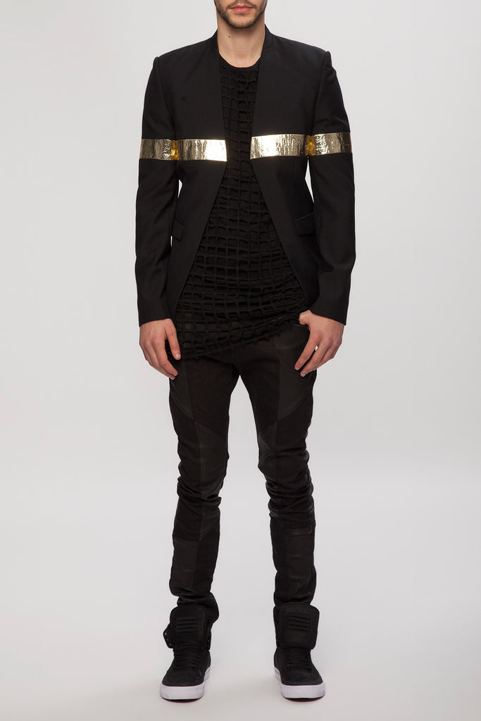 UNCONDITIONAL AW19 Black and gold 'line of beauty' jacket