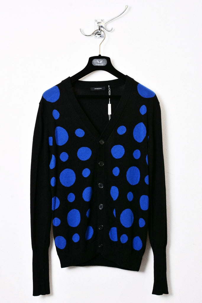UNCONDITIONAL black with blue polka dot cardigan.