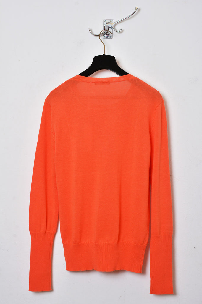 UNCONDITIONAL SS18 Orange / pink polka dot crew neck cotton-linen sweater