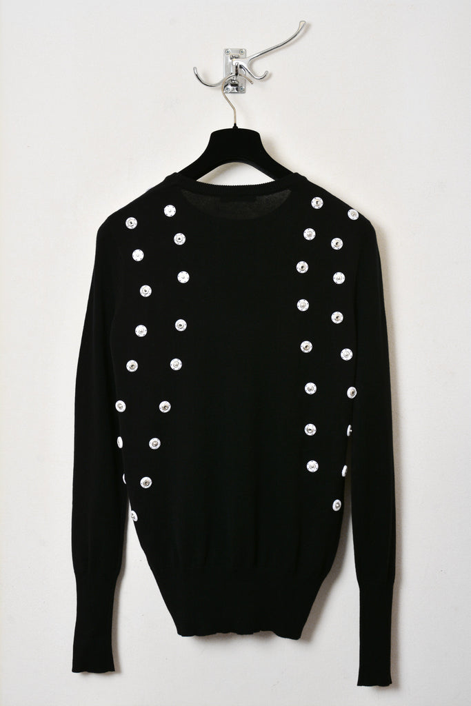 UNCONDITIONAL Black cotton knit crew neck with white scarification poppers