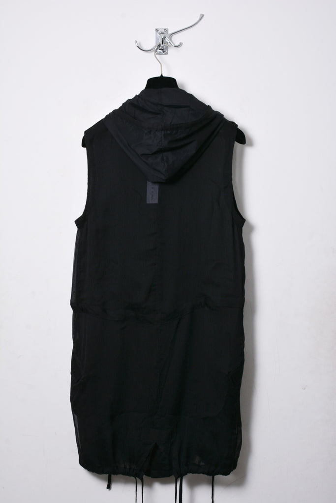 UNCONDITIONAL black sleeveless hooded parka.