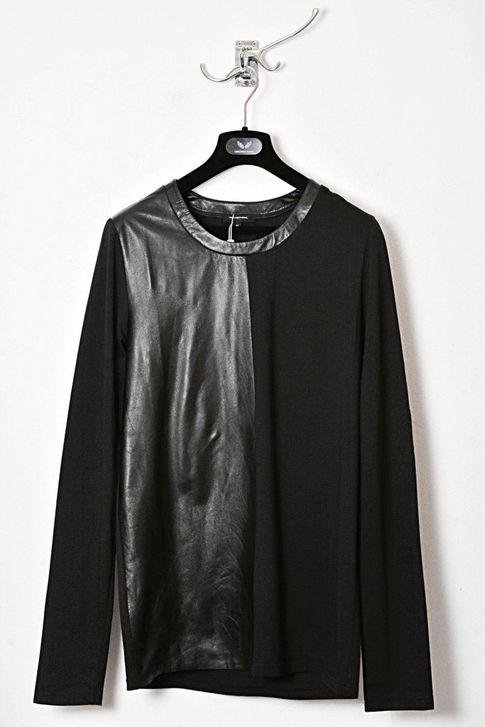 UNCONDITIONAL black long sleeved tee with half leather front.