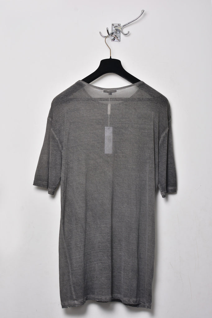 UNCONDITIONAL Military grey cold dye cotton perfect oversized crew neck tee.
