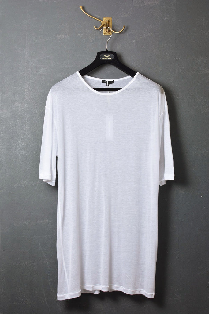 UNCONDITIONAL White gossamer tencel oversized crew neck tee.