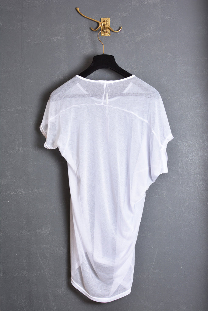 UNCONDITIONAL 2018 white cotton mesh asymmetric drape scoop neck T