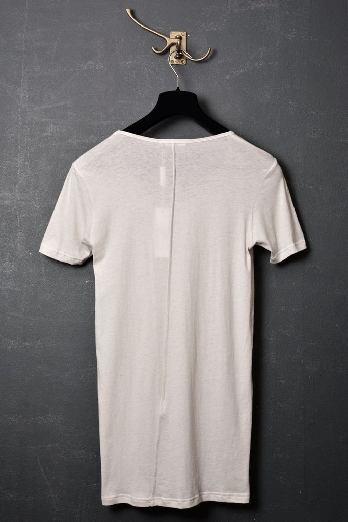UNCONDITIONAL stone scoop neck fine jersey T-shirt with centre back French seam.