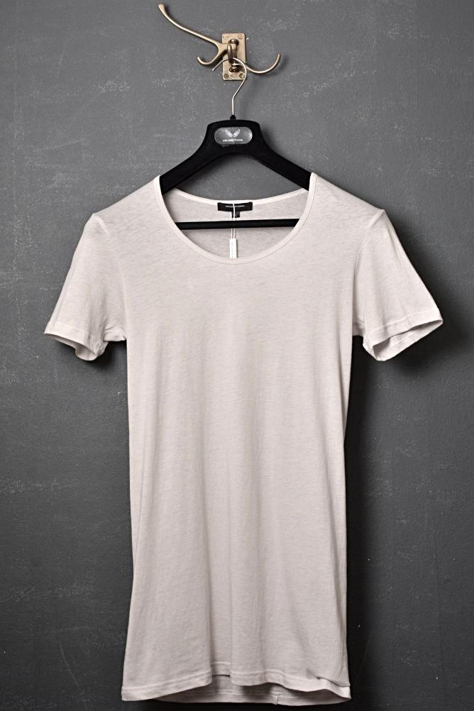 UNCONDITIONAL stone scoop neck tee with centre back seam.