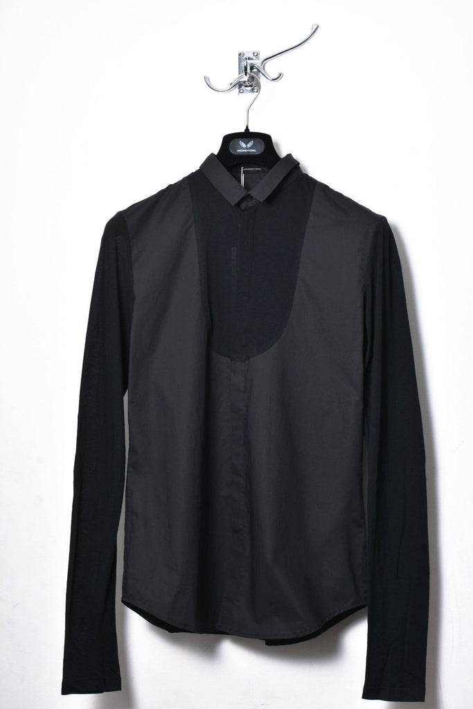 UNCONDITIONAL SS18 Black combi shirting & jersey bib XL sleeved shirt