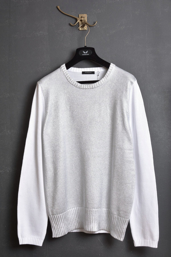 UNCONDITIONAL white and silver foiled crew neck jumper.
