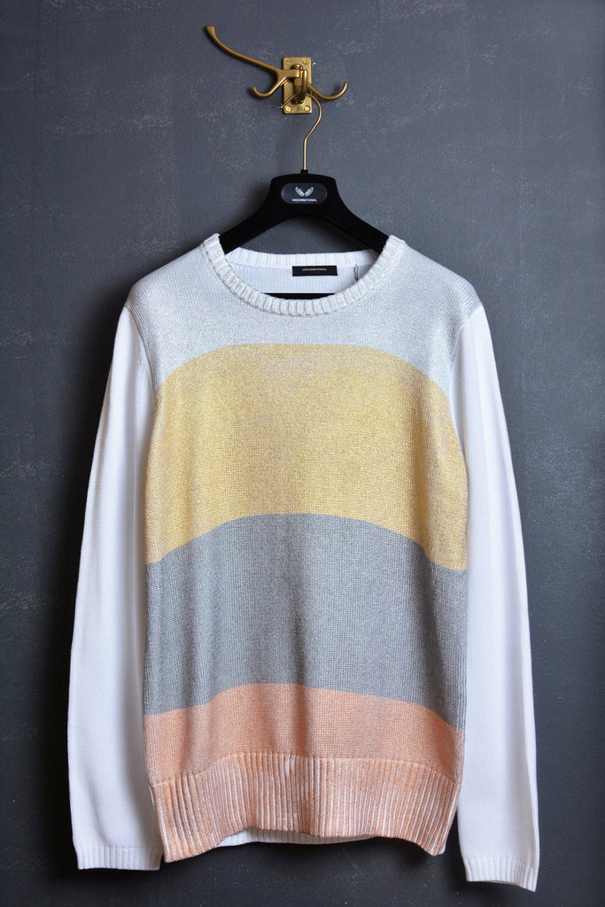 UNCONDITIONAL white and metallic stripes foiled crew neck jumper.