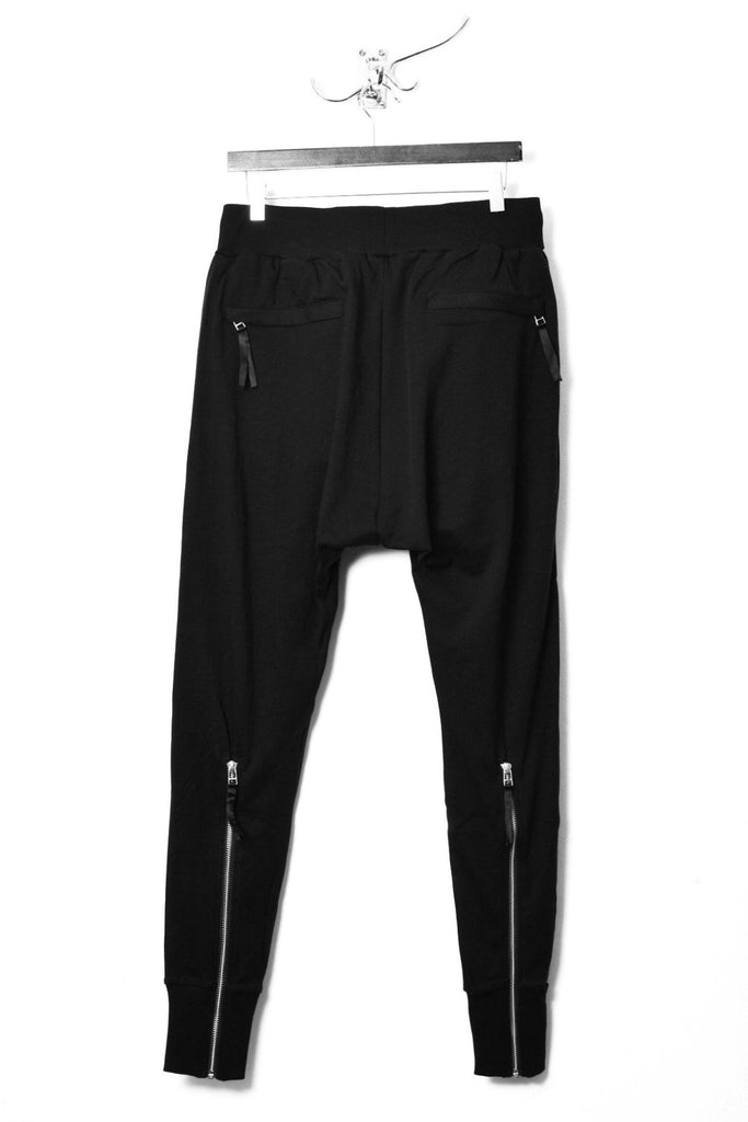 UNCONDITIONAL AW17 black full crotch heavy jersey trousers with back zips.